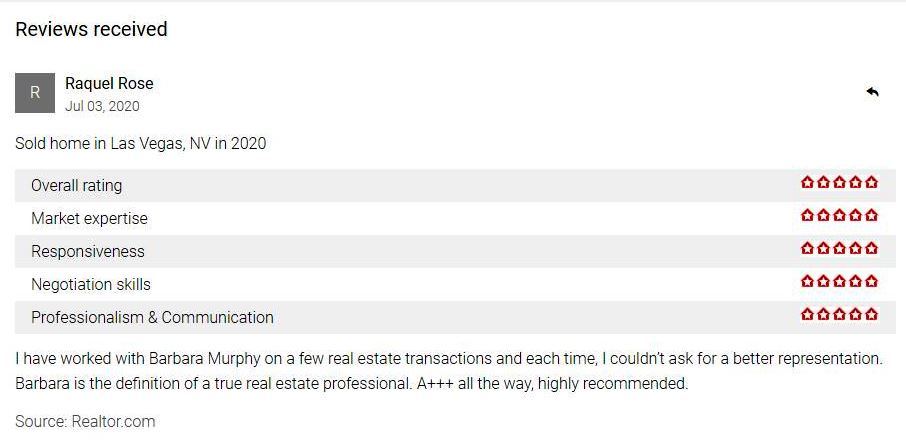 Raquel Rose Rating for Barbara Murphy, Recommendation for Barbara Murphy Realtor